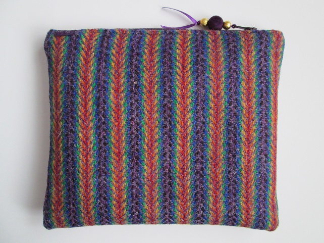 Rainbow Herringbone 'Harris Tweed' Make Up Cosmetic Bag