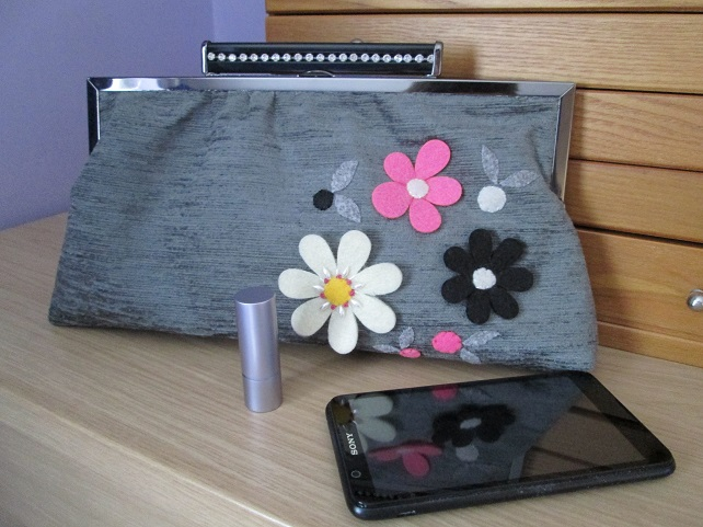 Grey Framed Clutch with Felt Flower Decoration