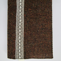 A6 'Harris Tweed' Reusable Notebook Cover - Rich Brown with Vintage Lace