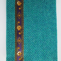 A6 'Harris Tweed' Reusable Notebook Cover - Turquoise with Purple and Gold Braid