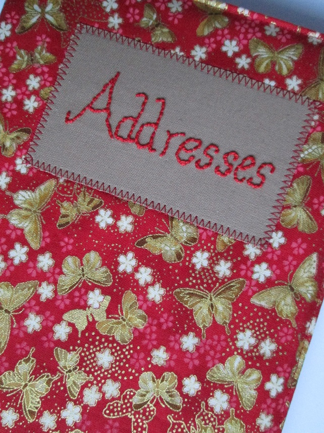 A5 Address Book - Gold Butterflies and Cream Flowers on Red