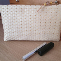 Cream and Gold Brocade Make Up Cosmetic Bag