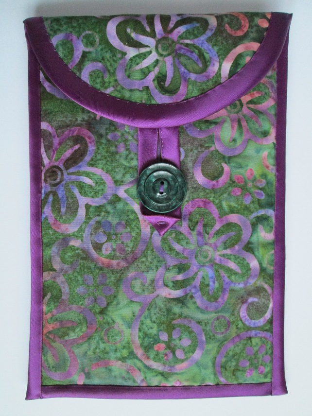 "Green and Purple Floral Batik Kindle or 7"" Tablet Case"