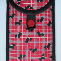 """Red and Black Scottie Dog Plaid Kindle or 7"""" Tablet Case"""