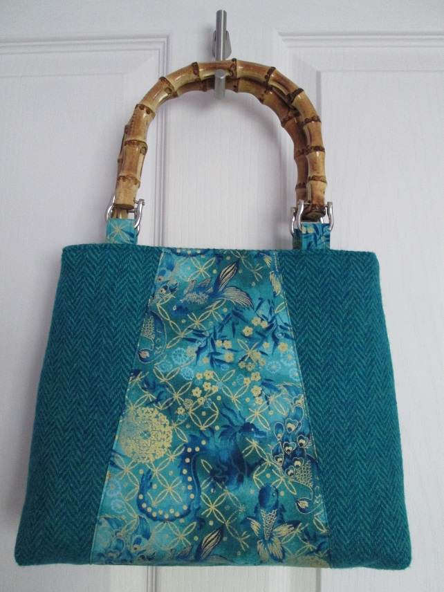 Turquoise 'Harris Tweed' Handbag with Dragon Panel and Bamboo Handles
