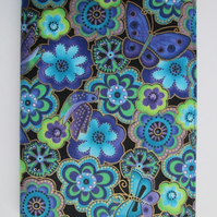 A6 Funky Blue Floral Reusable Notebook Cover