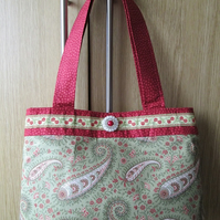 SALE - Green, Cream & Red Paisley Handbag