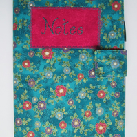 A5 Turquoise Floral Reusable Notebook Cover
