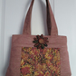 Pinky Beige Chenille Handbag with Oriental Chrysanthemum Print Panel