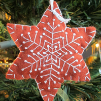 Hand Embroidered Felt 'Gingerbread' Snowflake Tree Decoration - A