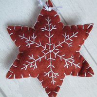 Hand Embroidered Felt 'Gingerbread' Snowflake Tree Decoration - B