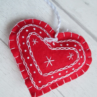 Scandi Style Embroidered Felt Heart