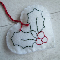 White Felt Heart With Holly Tree Decoration