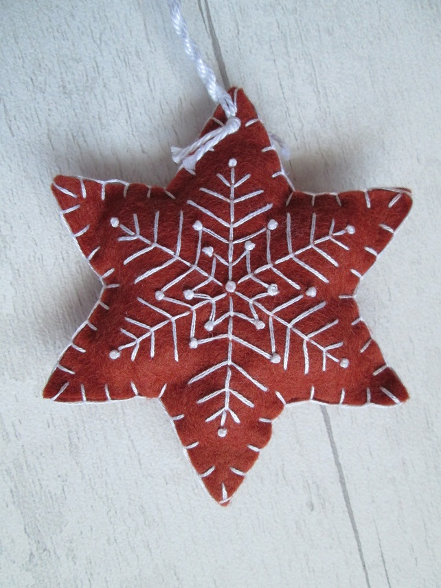 Felt 'Gingerbread' Snowflake Tree Decoration - H