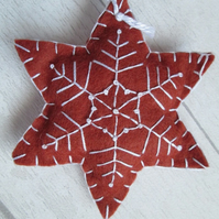 Hand Embroidered Felt 'Gingerbread' Snowflake Tree Decoration - C