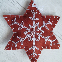 Hand Embroidered Felt 'Gingerbread' Snowflake Tree Decoration - G