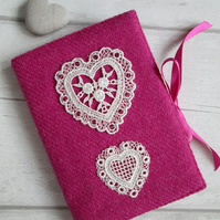 A6 'Harris Tweed' Reusable Notebook, Diary Cover - Valentine Pink