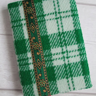 A6 'Harris Tweed' Reusable Notebook Cover - Green Check