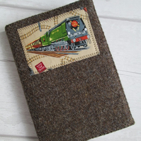 A6 'Harris Tweed' Reusable Notebook, Diary Cover - Brown with Steam Train