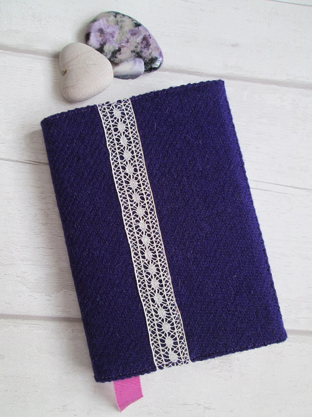 A6 'Harris Tweed' Reusable Notebook, Diary Cover - Deep Purple with Vintage Lace
