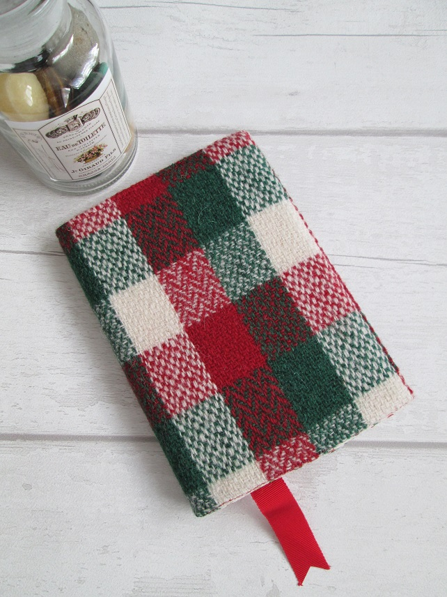 A6 'Harris Tweed' Reusable Notebook Cover - Red, Green and Cream Check