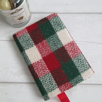 SOLD - A6 'Harris Tweed' Reusable Notebook, Diary Cover - Red, Green and Cream