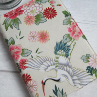 A6 Crane & Flowers Reusable Notebook Cover