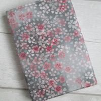 A6 Pink & Silver Flower Reusable Notebook Cover