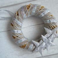 "SALE - 6"" Small Wicker Wreath - Silver Stars"