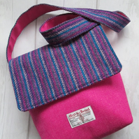 Hot Pink 'Harris Tweed' Bag with Striped Flap and Strap