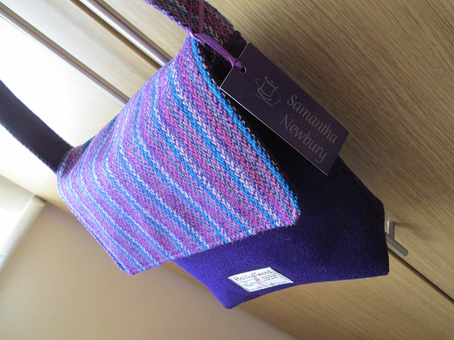 Rich Purple 'Harris Tweed' Bag with Striped Flap and Strap