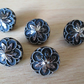 Five Black and Gold Vintage Floral Glass Buttons