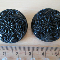 SALE - Pair of Vintage Embossed Black Glass Buttons 25 mm