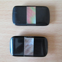 Pair of Black Rectangular Vintage Button Inlaid with Mother of Pearl
