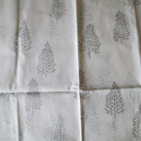 Silver and Batik Trees on White 100% Cotton