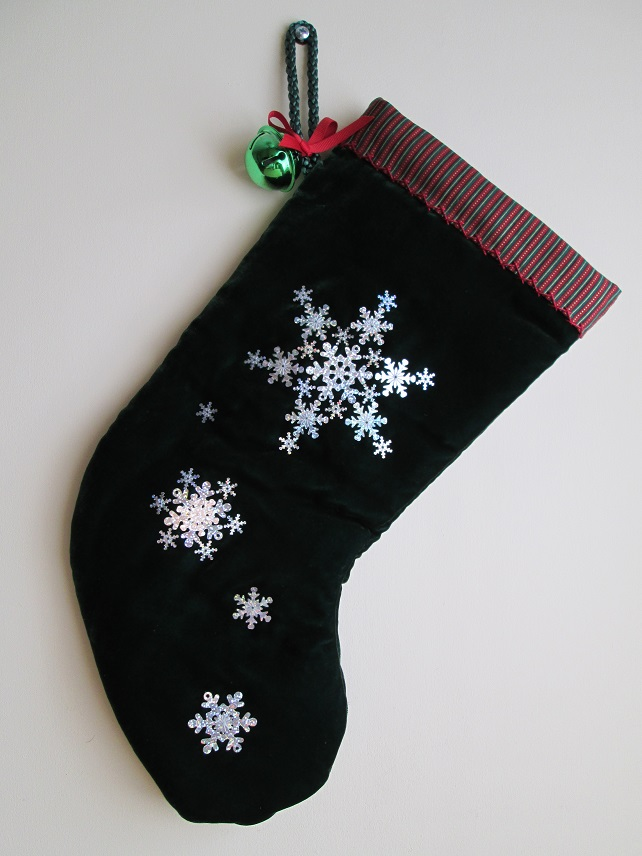 SALE - 'Snowflakes' Luxury Green Velvet Christmas Stocking