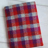 A6 'Harris Tweed' Reusable Notebook Cover - Red, Pink, and Purple Check
