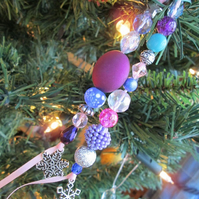 SOLD - Beaded Christmas Tree Decoration