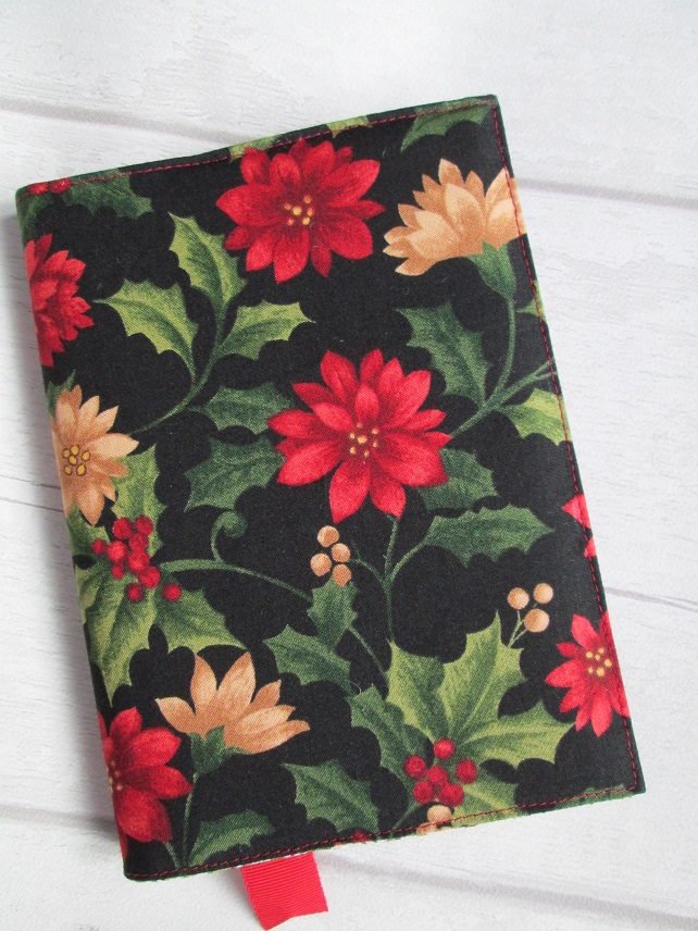 A6 Holly & Poinsettia Christmas Shopping Reusable Notebook Cover