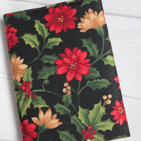 SALE - A6 Holly & Poinsettia Christmas Shopping Reusable Notebook Cover