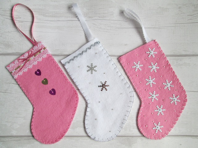 SALE - Trio of Small Christmas Stockings in Pink and White