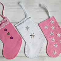 Trio of Small Christmas Stockings in Pink and White