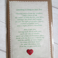 'Something to Hang on Your Tree' Poetry Christmas Card