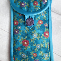 Turquoise Floral Glasses or Phone Case