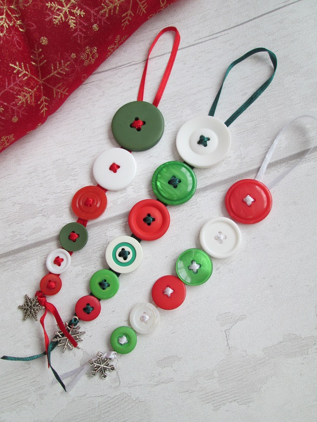 Set of Three Festive Button Dangles