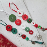 Set of Three Festive Button Dangle Decorations