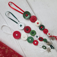 Set of Three Button Dangle Christmas Decorations