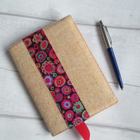 A6 'Harris Tweed' and Kaffe Fassett 'Paperweight' Print Reusable Notebook Cover