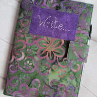 A5 Green & Purple Floral Batik Reusable Notebook Cover