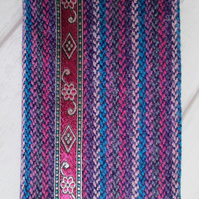 A6 'Harris Tweed' Reusable Notebook Cover - Purple, Pink, Turquoise Stripe